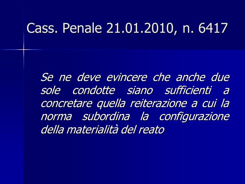 Cass.Penale 21.01.2010, n.