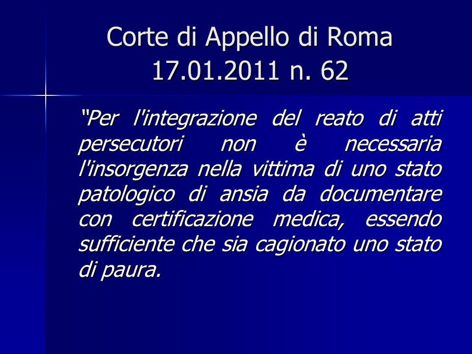 Corte di Appello di Roma 17.01.2011 n.