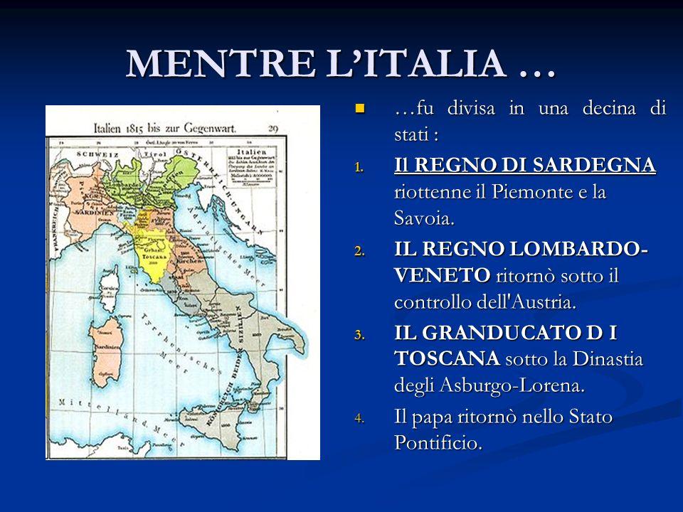 MENTRE LITALIA … …fu divisa in una decina di stati : 1.