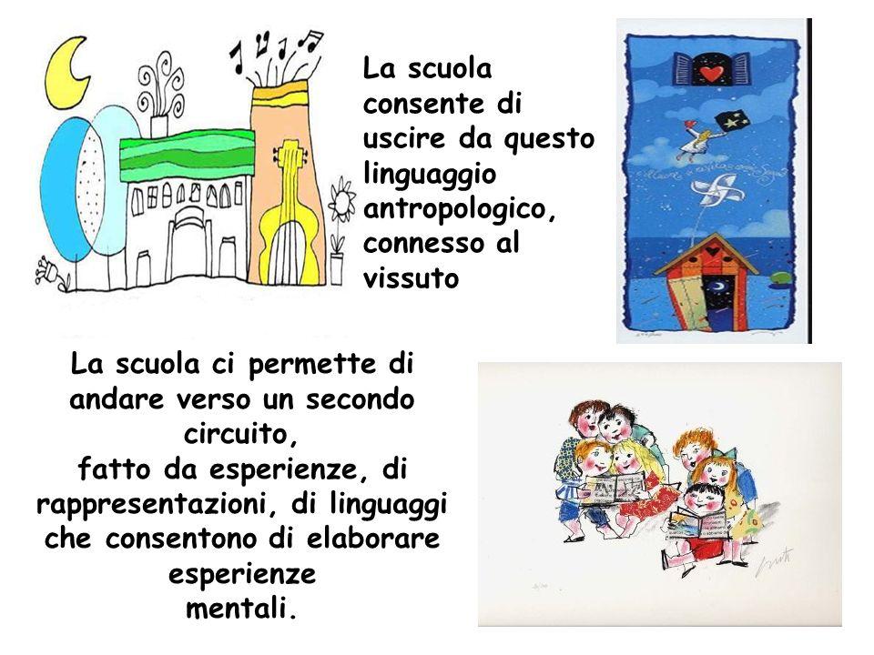 La scuola ci permette di andare verso un secondo circuito, fatto da esperienze, di rappresentazioni, di linguaggi che consentono di elaborare esperien