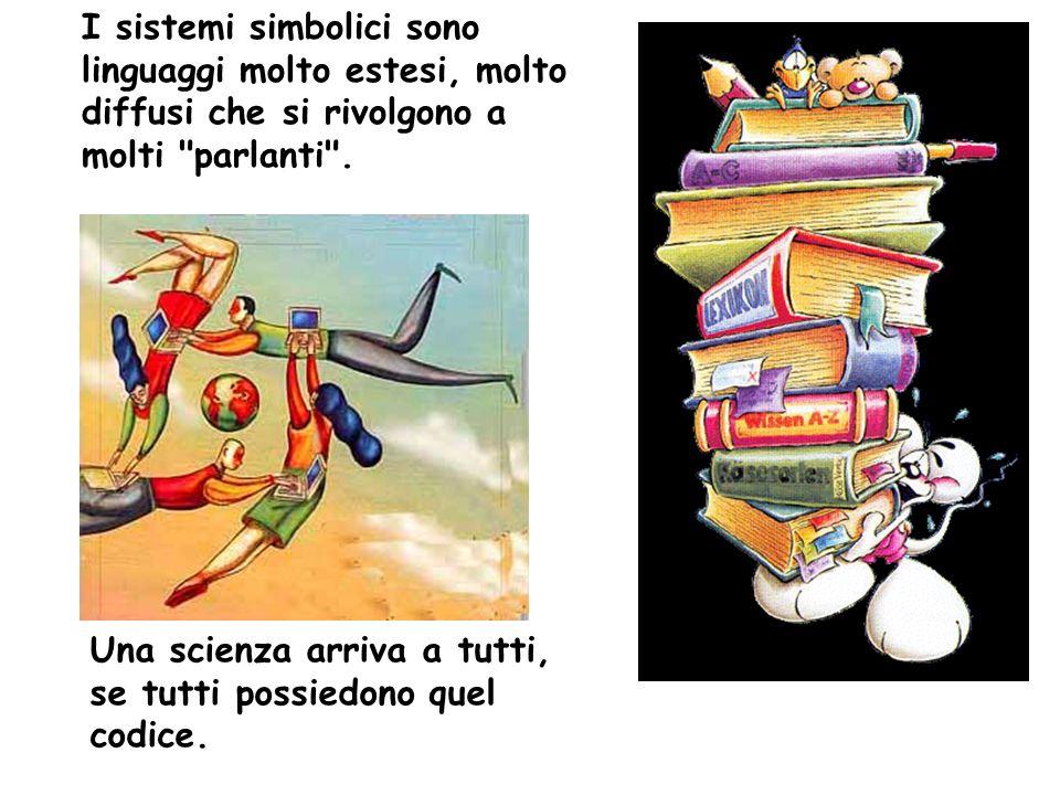 I sistemi simbolici sono linguaggi molto estesi, molto diffusi che si rivolgono a molti