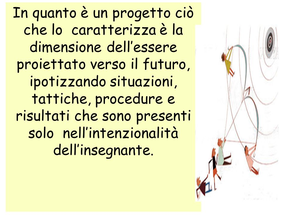 In quanto è un progetto ciò che lo caratterizza è la dimensione dellessere proiettato verso il futuro, ipotizzando situazioni, tattiche, procedure e r