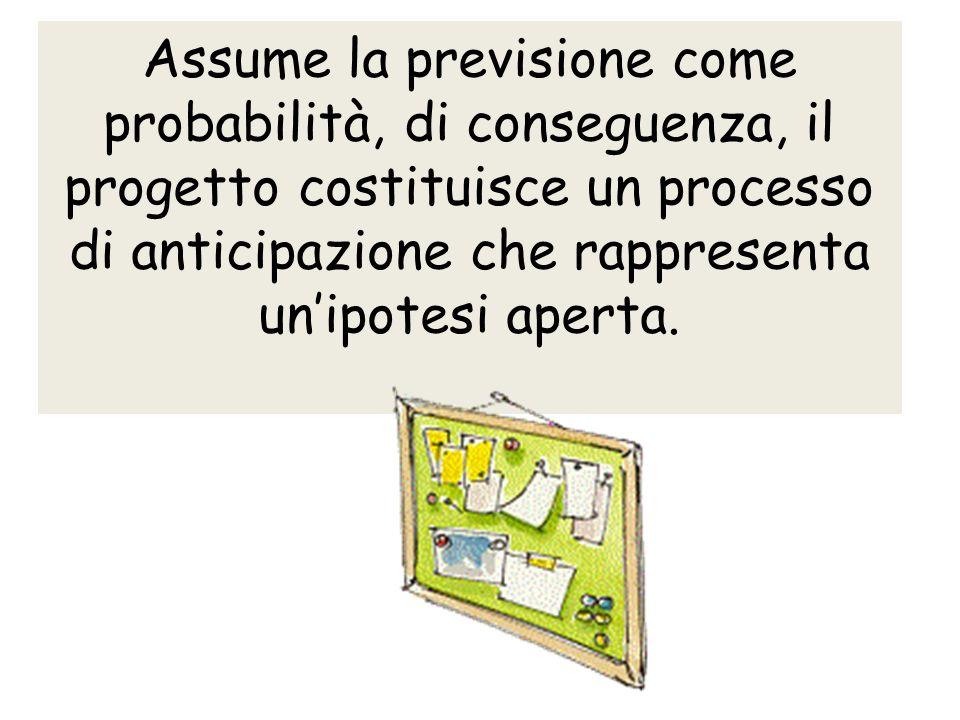 Assume la previsione come probabilità, di conseguenza, il progetto costituisce un processo di anticipazione che rappresenta unipotesi aperta.