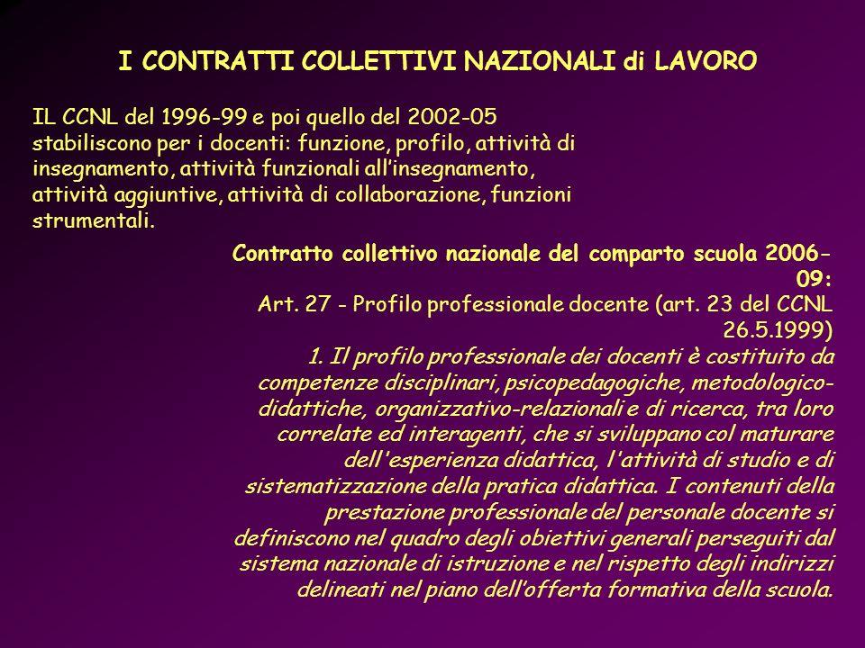 Contratto collettivo nazionale del comparto scuola 2006- 09: Art. 27 - Profilo professionale docente (art. 23 del CCNL 26.5.1999) 1. Il profilo profes