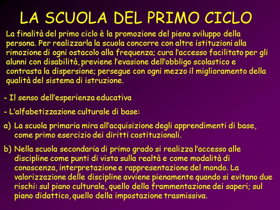 LA SCUOLA DEL PRIMO CICLO La finalità del primo ciclo è la promozione del pieno sviluppo della persona. Per realizzarla la scuola concorre con altre i