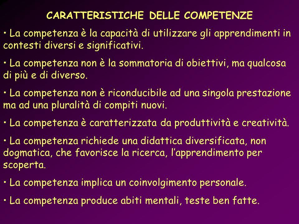 CARATTERISTICHE DELLE COMPETENZE La competenza è la capacità di utilizzare gli apprendimenti in contesti diversi e significativi. La competenza non è