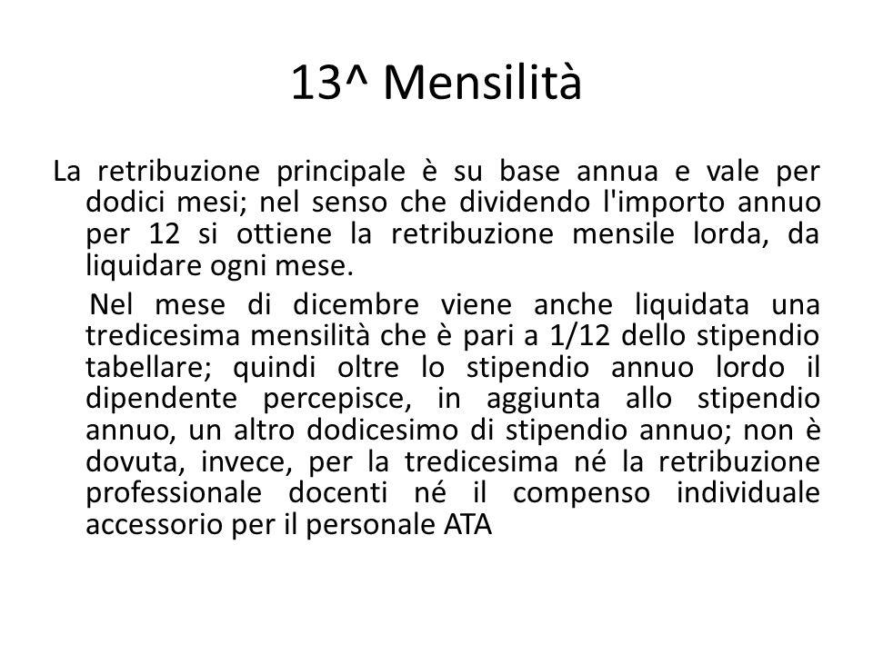 13^ Mensilità La retribuzione principale è su base annua e vale per dodici mesi; nel senso che dividendo l'importo annuo per 12 si ottiene la retribuz