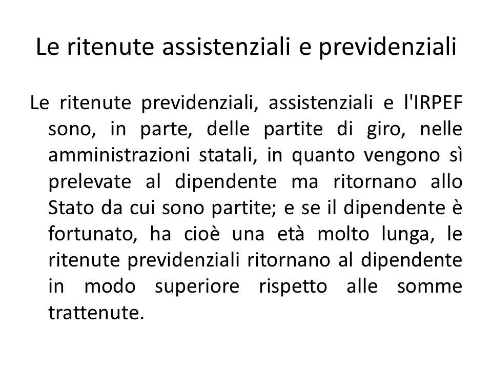 Le ritenute assistenziali e previdenziali Le ritenute previdenziali, assistenziali e l'IRPEF sono, in parte, delle partite di giro, nelle amministrazi