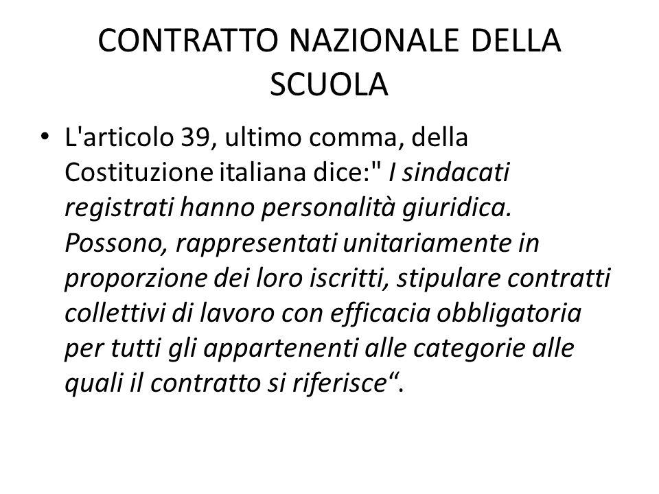 CONTRATTO NAZIONALE DELLA SCUOLA L'articolo 39, ultimo comma, della Costituzione italiana dice:
