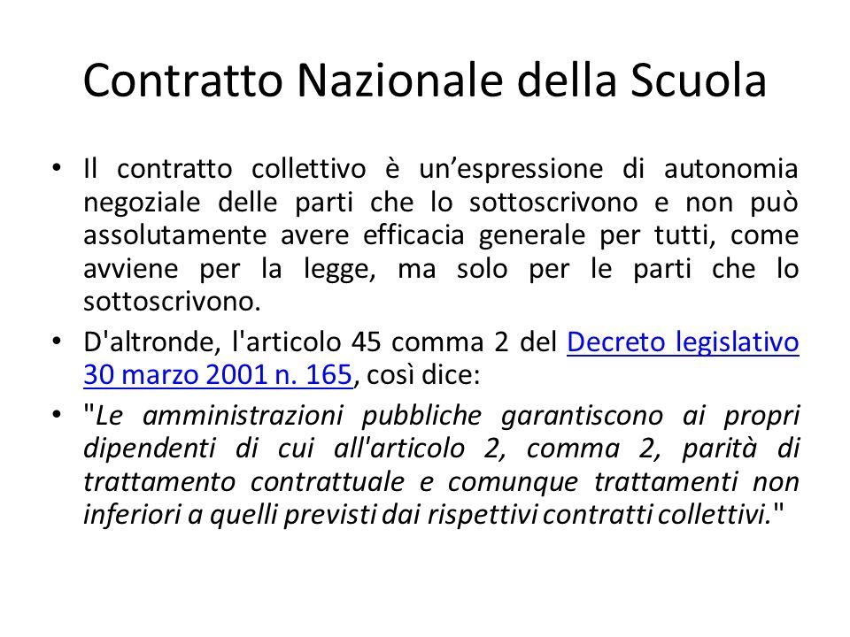 Contratto Nazionale della Scuola Il contratto collettivo è unespressione di autonomia negoziale delle parti che lo sottoscrivono e non può assolutamen