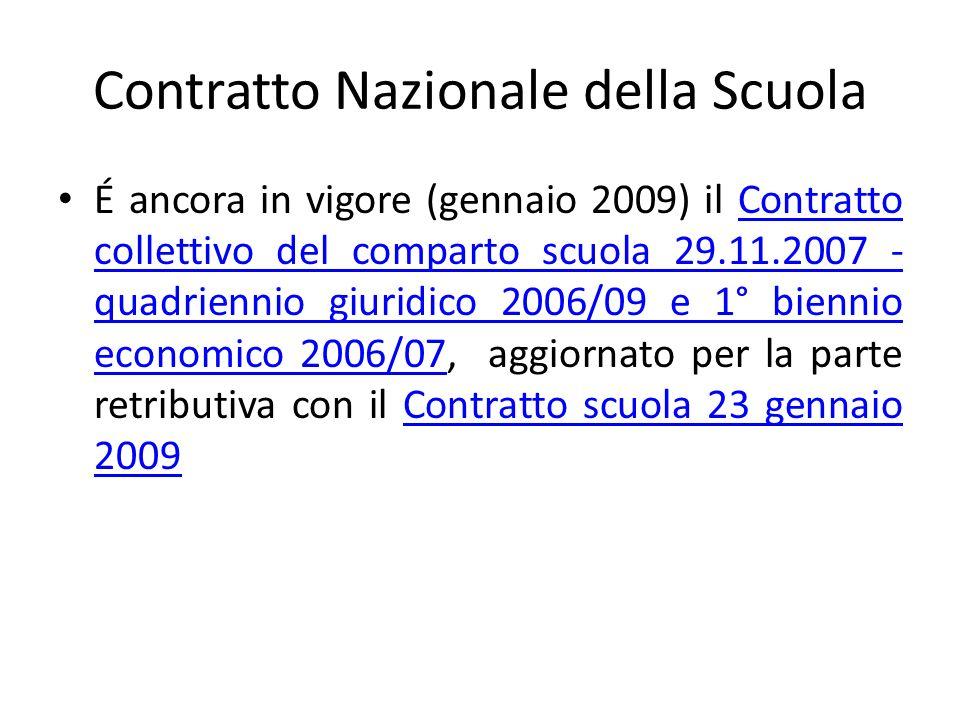 Contratto Nazionale della Scuola É ancora in vigore (gennaio 2009) il Contratto collettivo del comparto scuola 29.11.2007 - quadriennio giuridico 2006