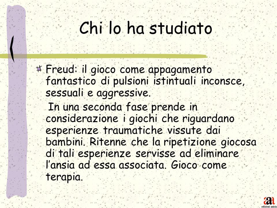 Chi lo ha studiato Freud: il gioco come appagamento fantastico di pulsioni istintuali inconsce, sessuali e aggressive. In una seconda fase prende in c
