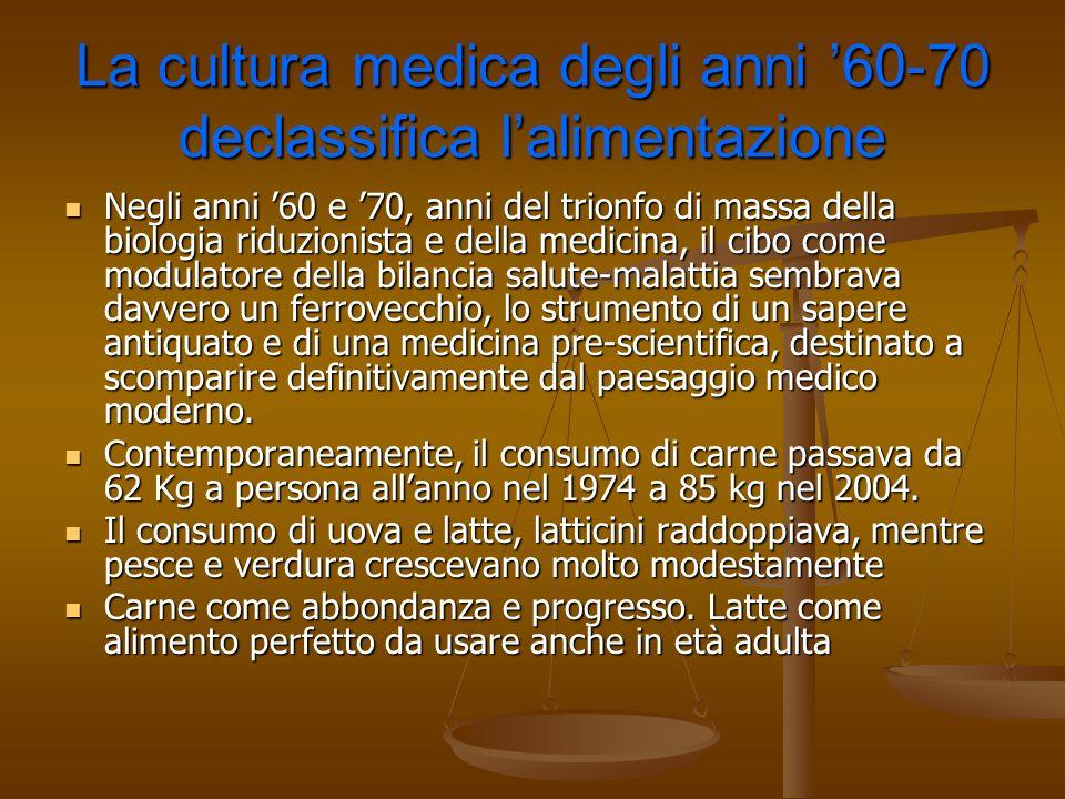 La cultura medica degli anni 60-70 declassifica lalimentazione Negli anni 60 e 70, anni del trionfo di massa della biologia riduzionista e della medic