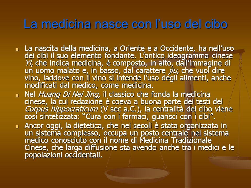 La medicina nasce con luso del cibo La nascita della medicina, a Oriente e a Occidente, ha nelluso dei cibi il suo elemento fondante. Lantico ideogram