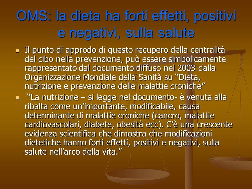 OMS: la dieta ha forti effetti, positivi e negativi, sulla salute Il punto di approdo di questo recupero della centralità del cibo nella prevenzione,