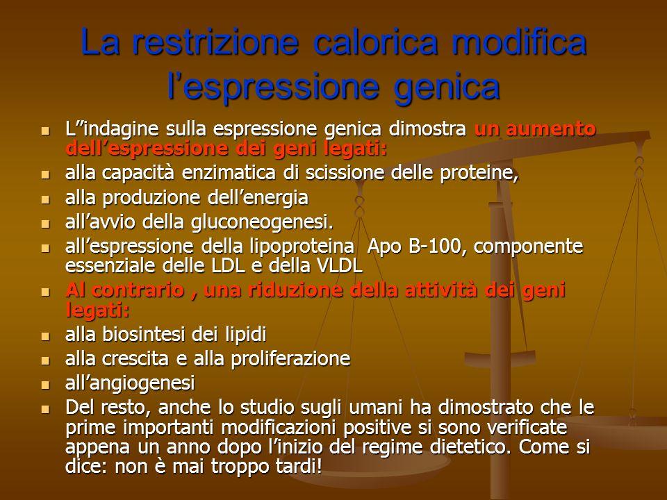 La restrizione calorica modifica lespressione genica Lindagine sulla espressione genica dimostra un aumento dellespressione dei geni legati: Lindagine
