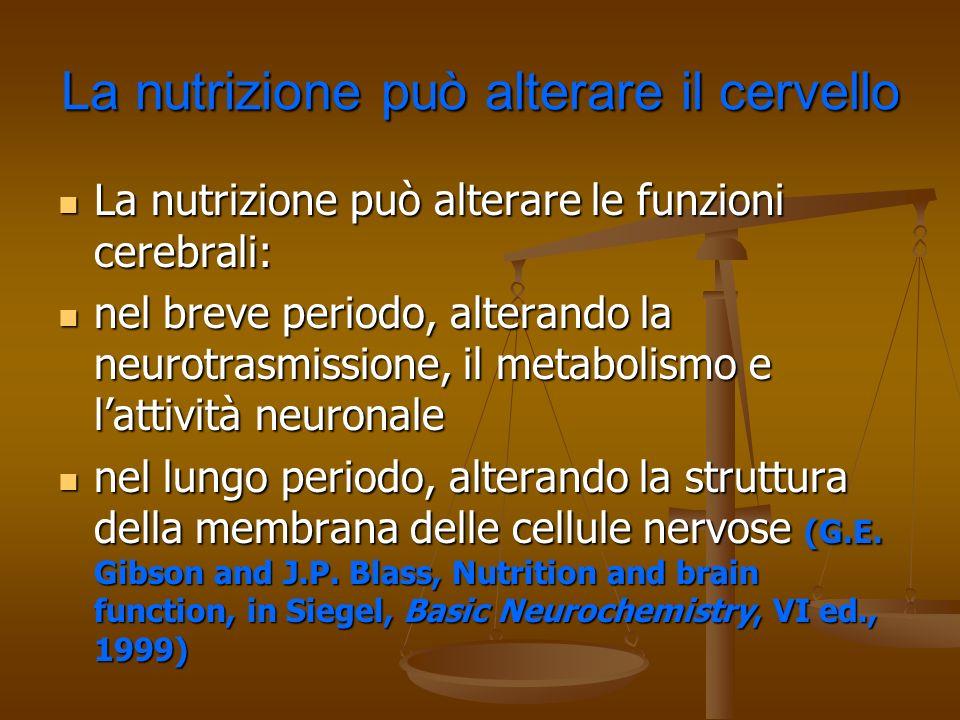 La nutrizione può alterare il cervello La nutrizione può alterare le funzioni cerebrali: La nutrizione può alterare le funzioni cerebrali: nel breve p