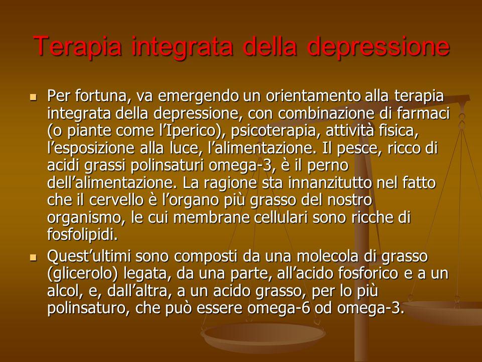 Terapia integrata della depressione Per fortuna, va emergendo un orientamento alla terapia integrata della depressione, con combinazione di farmaci (o
