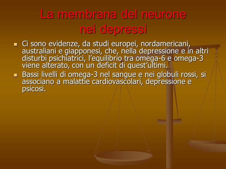La membrana del neurone nei depressi Ci sono evidenze, da studi europei, nordamericani, australiani e giapponesi, che, nella depressione e in altri di