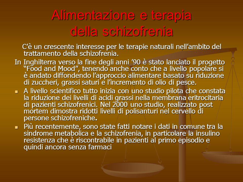 Alimentazione e terapia della schizofrenia Cè un crescente interesse per le terapie naturali nellambito del trattamento della schizofrenia. Cè un cres