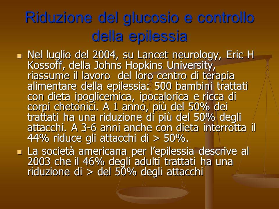Riduzione del glucosio e controllo della epilessia Nel luglio del 2004, su Lancet neurology, Eric H Kossoff, della Johns Hopkins University, riassume