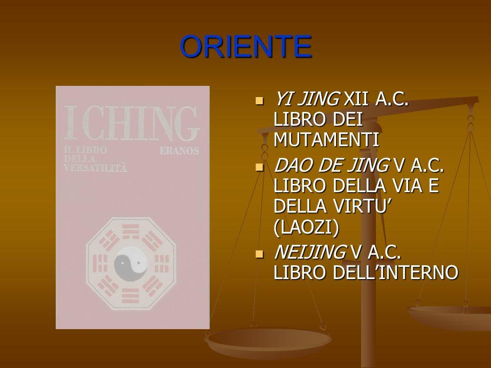 ORIENTE YI JING XII A.C. LIBRO DEI MUTAMENTI DAO DE JING V A.C. LIBRO DELLA VIA E DELLA VIRTU (LAOZI) NEIJING V A.C. LIBRO DELLINTERNO
