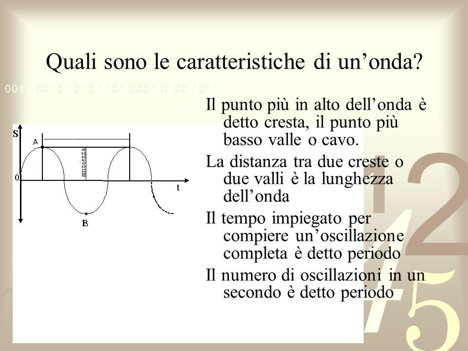 Quali sono le caratteristiche di unonda? Il punto più in alto dellonda è detto cresta, il punto più basso valle o cavo. La distanza tra due creste o d