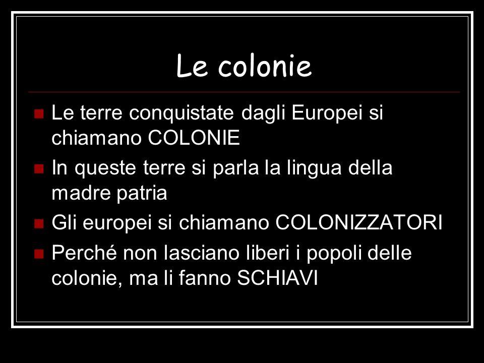 Le colonie Le terre conquistate dagli Europei si chiamano COLONIE In queste terre si parla la lingua della madre patria Gli europei si chiamano COLONI
