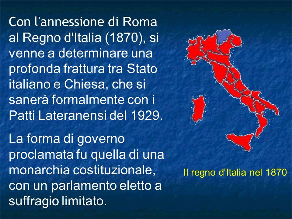 Con l'annessione di Roma al Regno d'Italia (1870), si venne a determinare una profonda frattura tra Stato italiano e Chiesa, che si sanerà formalmente