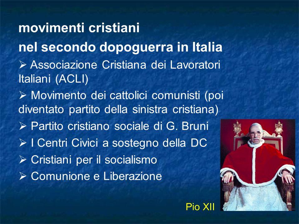movimenti cristiani nel secondo dopoguerra in Italia Associazione Cristiana dei Lavoratori Italiani (ACLI) Movimento dei cattolici comunisti (poi dive