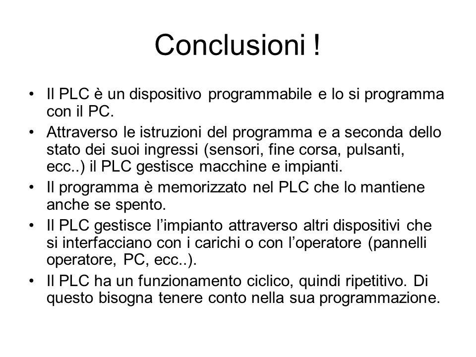 Conclusioni ! Il PLC è un dispositivo programmabile e lo si programma con il PC. Attraverso le istruzioni del programma e a seconda dello stato dei su