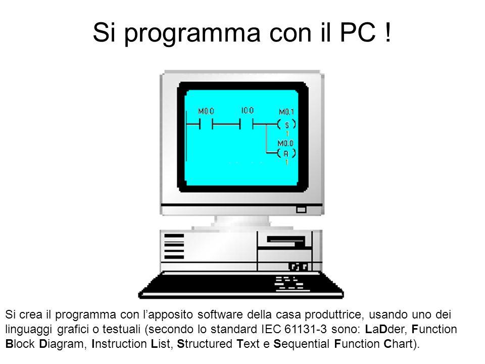 Si programma con il PC ! Si crea il programma con lapposito software della casa produttrice, usando uno dei linguaggi grafici o testuali (secondo lo s