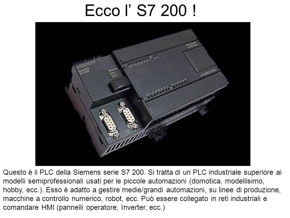 Ecco l S7 200 ! Questo è il PLC della Siemens serie S7 200. Si tratta di un PLC industriale superiore ai modelli semiprofessionali usati per le piccol