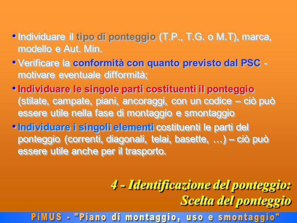 4 - Identificazione del ponteggio: Scelta del ponteggio Individuare il tipo di ponteggio (T.P., T.G.