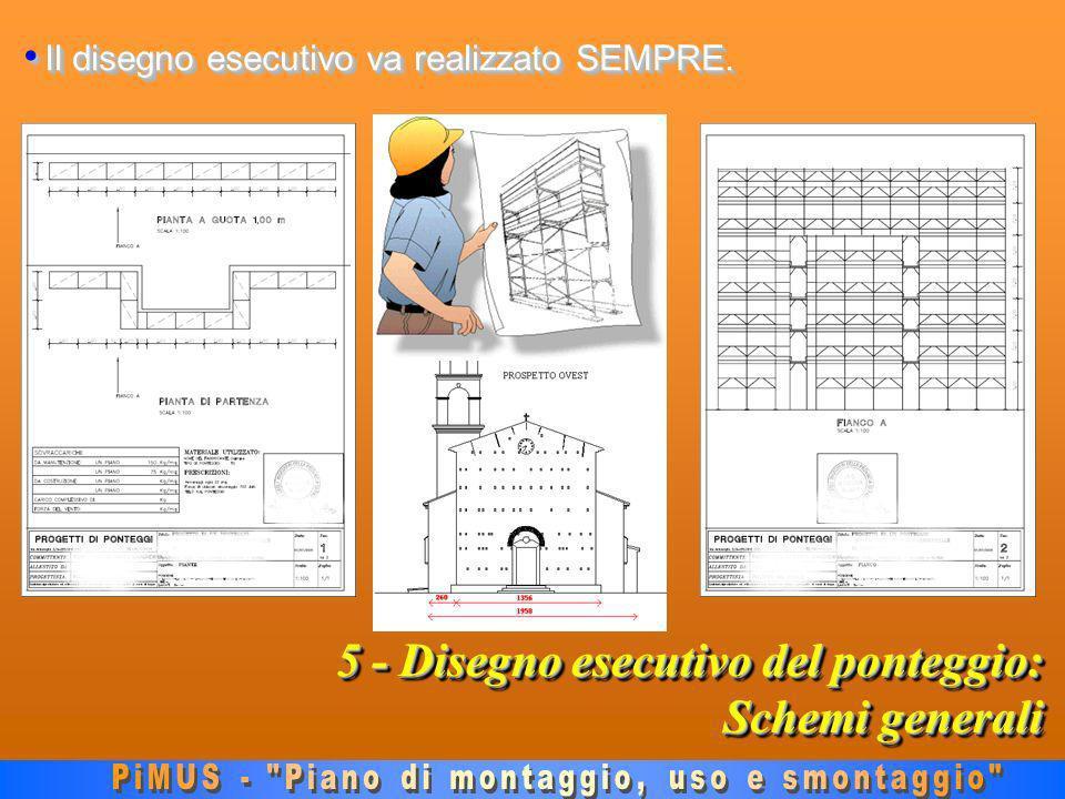 5 - Disegno esecutivo del ponteggio: Schemi generali Il disegno esecutivo va realizzato SEMPRE.