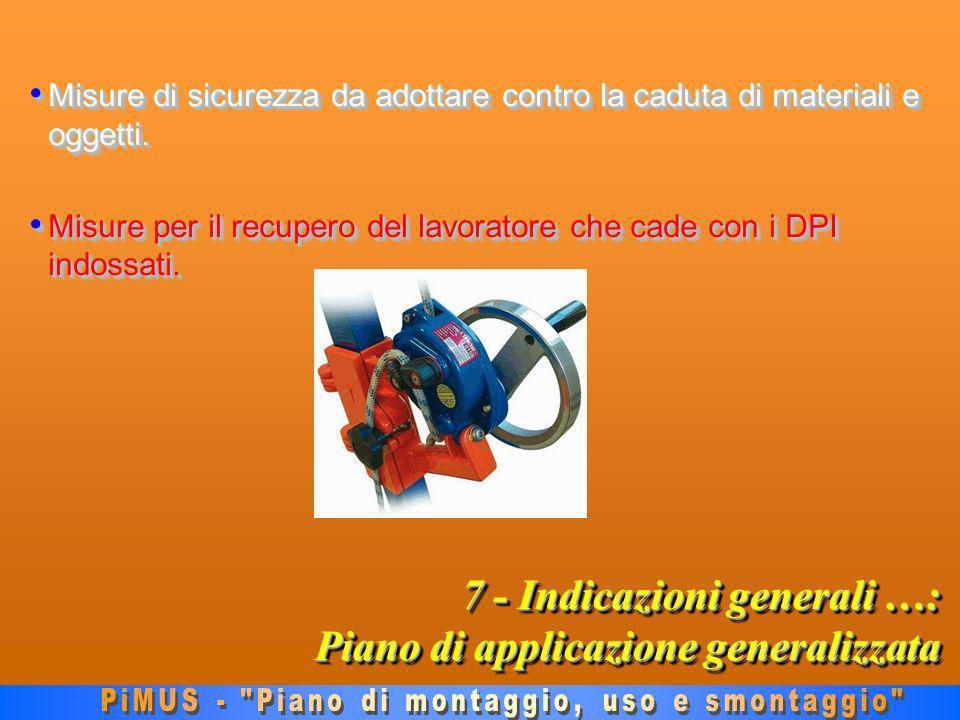 7 - Indicazioni generali …: Piano di applicazione generalizzata Misure di sicurezza da adottare contro la caduta di materiali e oggetti.
