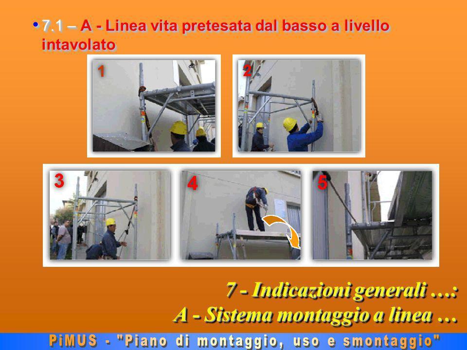 7 - Indicazioni generali …: A - Sistema montaggio a linea … 7.1 – A - Linea vita pretesata dal basso a livello intavolato 7.1 – A - Linea vita pretesata dal basso a livello intavolato