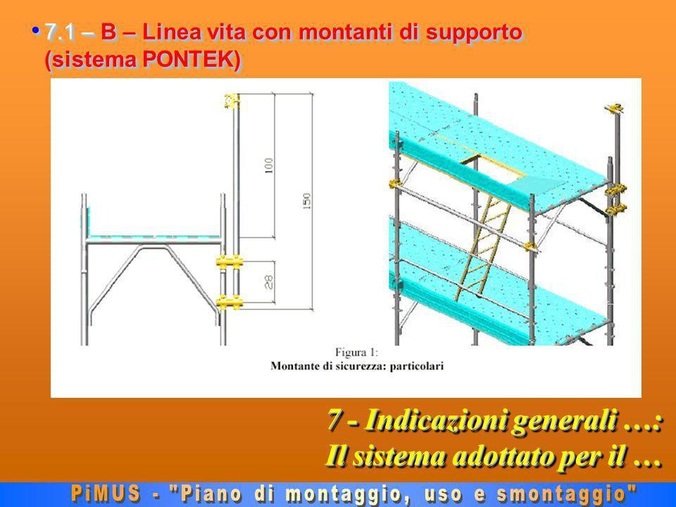 7 - Indicazioni generali …: Il sistema adottato per il … 7.1 – B – Linea vita con montanti di supporto (sistema PONTEK) 7.1 – B – Linea vita con montanti di supporto (sistema PONTEK)