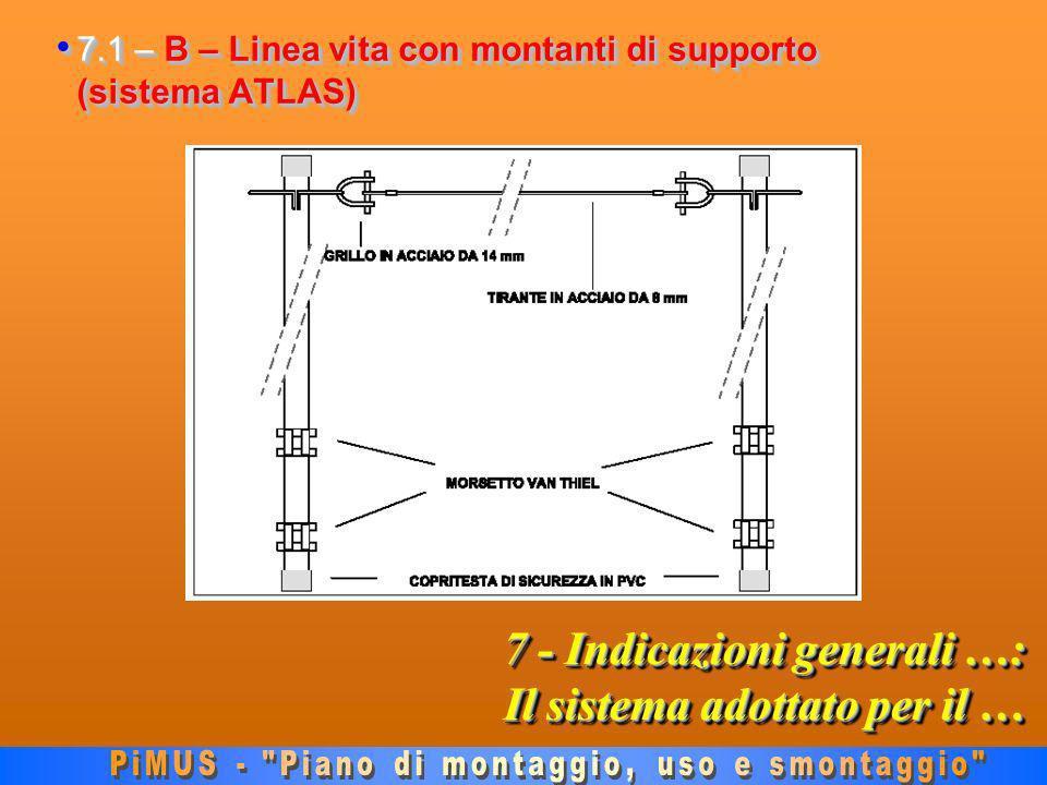 7 - Indicazioni generali …: Il sistema adottato per il … 7.1 – B – Linea vita con montanti di supporto (sistema ATLAS) 7.1 – B – Linea vita con montanti di supporto (sistema ATLAS)