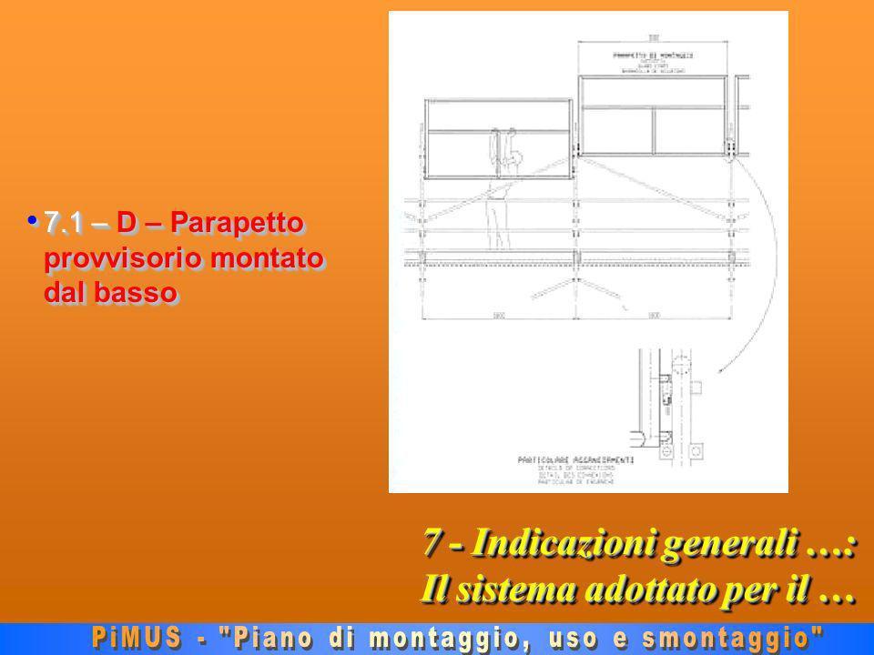 7 - Indicazioni generali …: Il sistema adottato per il … 7.1 – D – Parapetto provvisorio montato dal basso 7.1 – D – Parapetto provvisorio montato dal basso