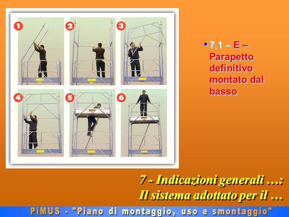7 - Indicazioni generali …: Il sistema adottato per il … 7.1 – E – Parapetto definitivo montato dal basso 7.1 – E – Parapetto definitivo montato dal basso
