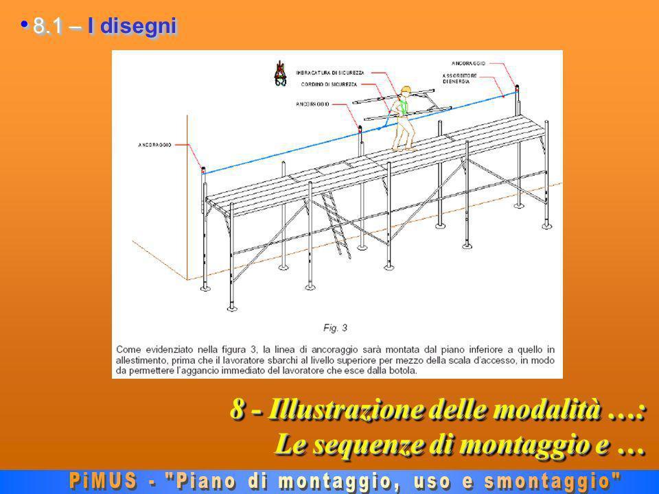 8 - Illustrazione delle modalità …: Le sequenze di montaggio e … 8.1 – I disegni 8.1 – I disegni