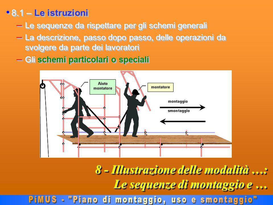8 - Illustrazione delle modalità …: Le sequenze di montaggio e … 8.1 – Le istruzioni 8.1 – Le istruzioni – Le sequenze da rispettare per gli schemi generali – La descrizione, passo dopo passo, delle operazioni da svolgere da parte dei lavoratori – Gli schemi particolari o speciali 8.1 – Le istruzioni 8.1 – Le istruzioni – Le sequenze da rispettare per gli schemi generali – La descrizione, passo dopo passo, delle operazioni da svolgere da parte dei lavoratori – Gli schemi particolari o speciali