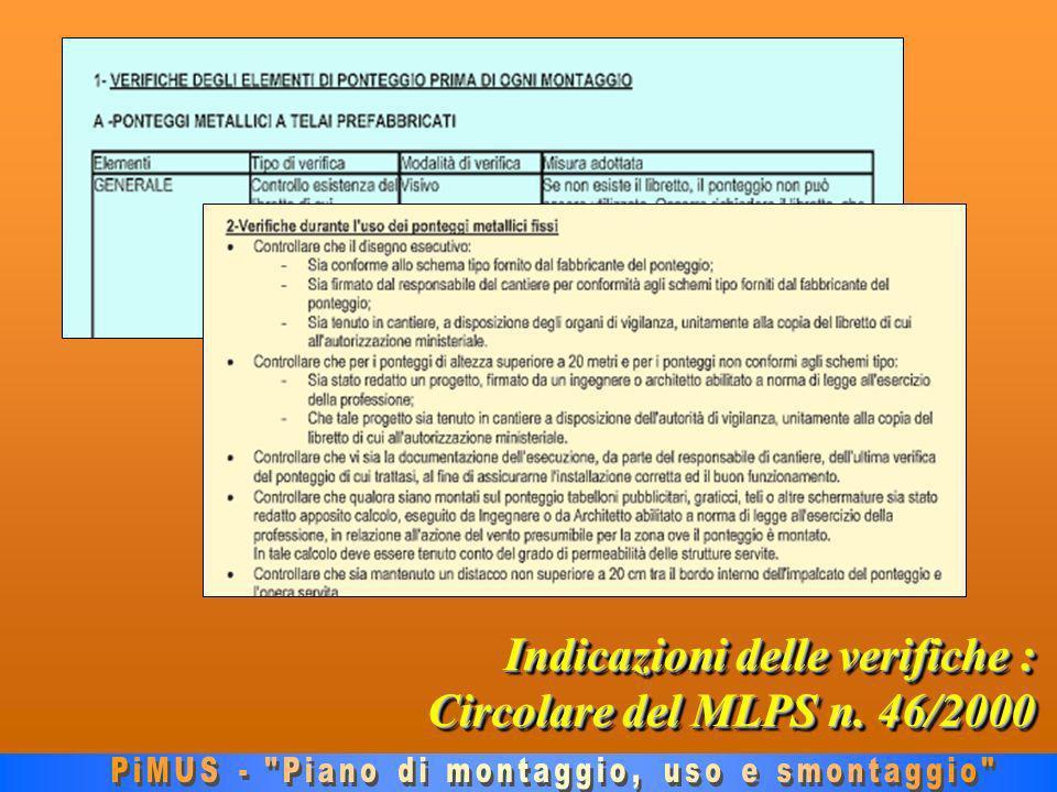Indicazioni delle verifiche : Circolare del MLPS n. 46/2000
