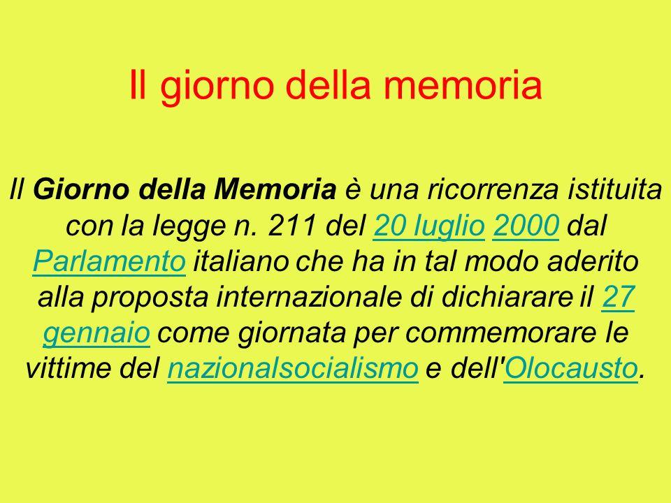 Il giorno della memoria Il Giorno della Memoria è una ricorrenza istituita con la legge n. 211 del 20 luglio 2000 dal Parlamento italiano che ha in ta