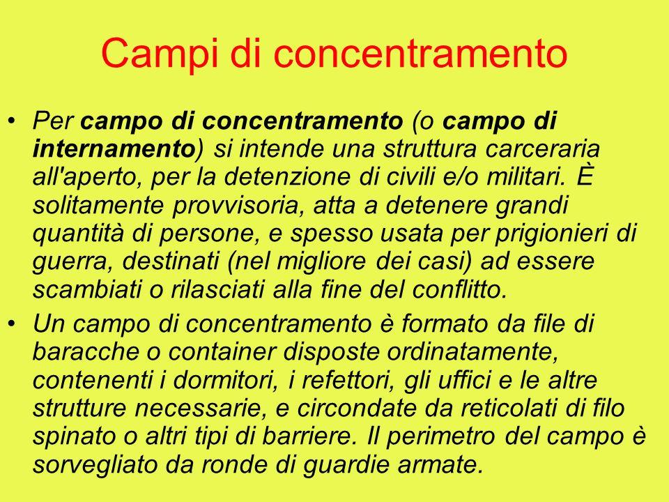 Campi di concentramento Per campo di concentramento (o campo di internamento) si intende una struttura carceraria all'aperto, per la detenzione di civ