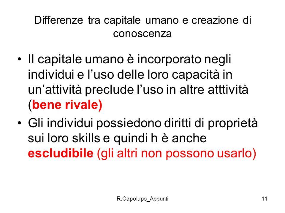 R.Capolupo_Appunti11 Differenze tra capitale umano e creazione di conoscenza Il capitale umano è incorporato negli individui e luso delle loro capacit