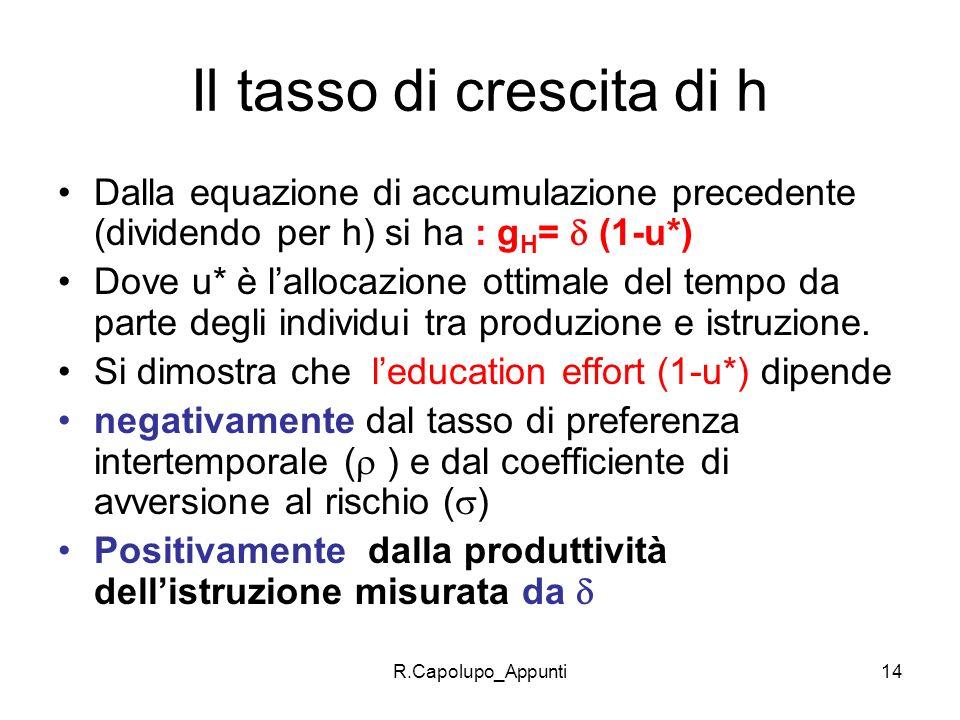 R.Capolupo_Appunti14 Il tasso di crescita di h Dalla equazione di accumulazione precedente (dividendo per h) si ha : g H = (1-u*) Dove u* è lallocazio