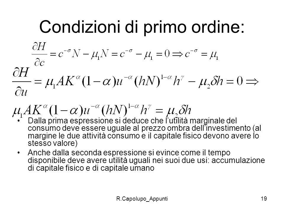 R.Capolupo_Appunti19 Condizioni di primo ordine: Dalla prima espressione si deduce che lutilità marginale del consumo deve essere uguale al prezzo omb