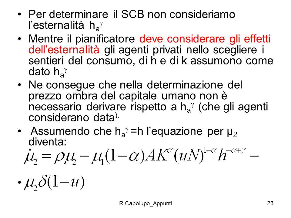 R.Capolupo_Appunti23 Per determinare il SCB non consideriamo lesternalità h a Mentre il pianificatore deve considerare gli effetti dellesternalità gli